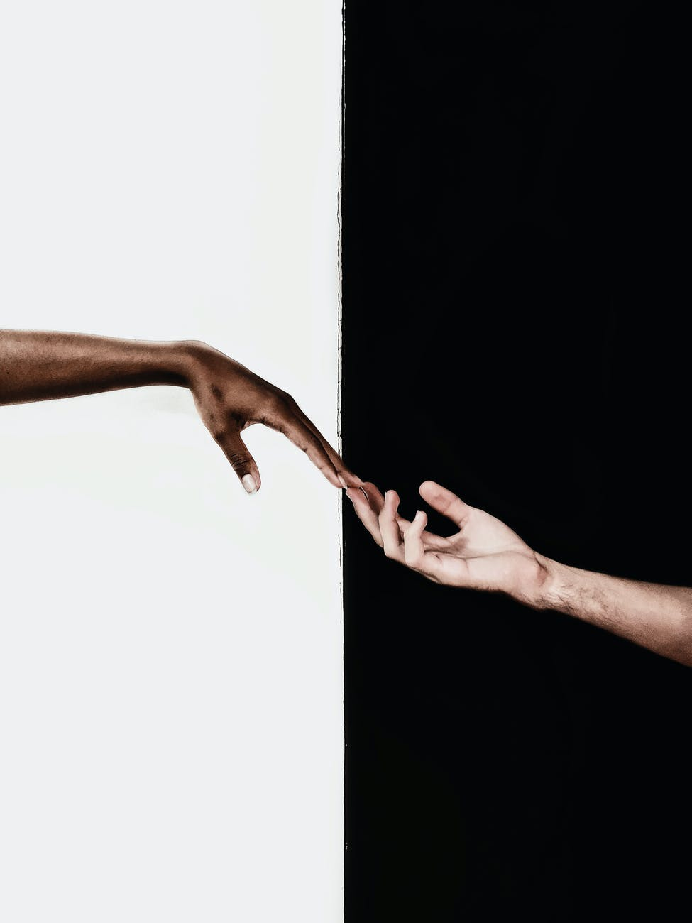 hands in front of white and black background